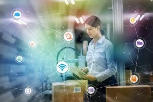 "industry and Internet of Things concept. <g class=""gr_ gr_66 gr-alert gr_gramm gr_inline_cards gr_run_anim Grammar only-ins doubleReplace replaceWithoutSep"" id=""66"" data-gr-id=""66"">woman</g> working in <g class=""gr_ gr_67 gr-alert gr_gramm gr_inline_cards gr_run_anim Grammar only-ins doubleReplace replaceWithoutSep"" id=""67"" data-gr-id=""67"">factory</g> and wireless communication network. Industry4.0."