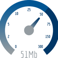 A graphic of a speed test that read 51 Mb