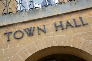 Town Hall Sign on Building Facade