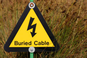 Yellow electrical hazard sign