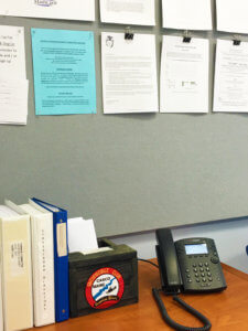 A picture of a phone that keeps the Town Office lobby connected to the Hosted Phone System