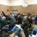 Alton residents voting during their annual town meeting.