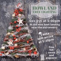 the hwoland tree Lighting flyer. A Christmas tree, docroated with gold and red stars, christmas balls, pine cones and wine twine.