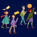 A graphic of children bundled up parading with paper lights
