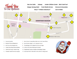 A map of the Madison Christmas celebrations throughout the town.