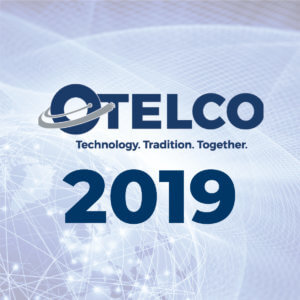 The 2019 OTELCO Blog Logo: A blue globe with lines of light crossing all over it, with OTELCO Technology. Tradition. Together.<sup>®</sup> 2019 written over it in big blue letters.