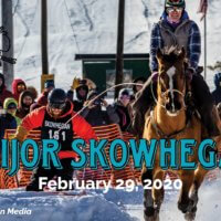 A man on horse, surrounded by snow and crowd, with the words Skijor Skowhegan February 29th, 2020