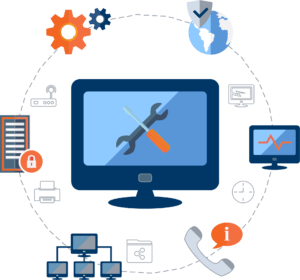 An orb with a laptop in the middle, surrounded by different objects, like a phone, a server, a globe, and a network. Representing the many things covered by OTELCO Cloud and Managed Services' package covers.