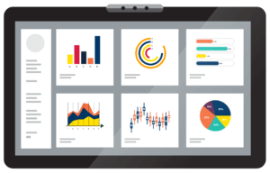 A tablet with different charts and graphs on it, an illustration of OTELCO Cloud and Managed Services' new Networking as a Service dashboard.