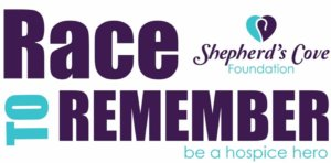 "The Race to Remember Facebook Event cover photo, that says ""Race to Remember. Shepard's Cove Foundation. Be a hospice hero. """