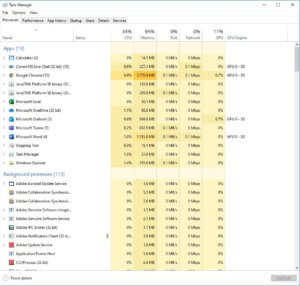 An example of what a task manager would look like on a PC if you were using it to see see how much speed your devices were using to get the most out of your Internet