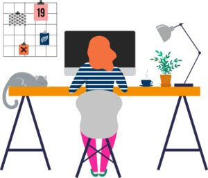 A graphic of a women using virtual desktop infrastructure to telecommute