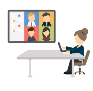 Book a virtual-visit with OTELCO today: a women sits at a table alone while video chatting with four coworkers on a large screen.