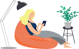 A graphic of a blond woman, in a blue shirt sitting on an orange bean bag chair, participating in a virtual event on her ipad.