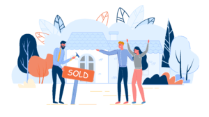 How Fiber-Optic Internet Can Boost The Value of Your Home: A Graphic of Happy Sellers in front of their sold house