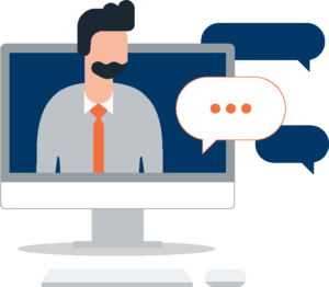 Making the OTELCO Customer Care Team More Accessible Online: A graphic of a man coming out of a computer with chat bubbles around him.