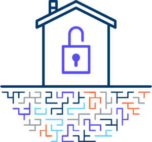 Smart Home Security Graphic of a house with a lock inside and squiggly lines underneath