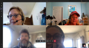 An OTELCO virtual lunch using Microsoft Teams smaller gallery mode feature.