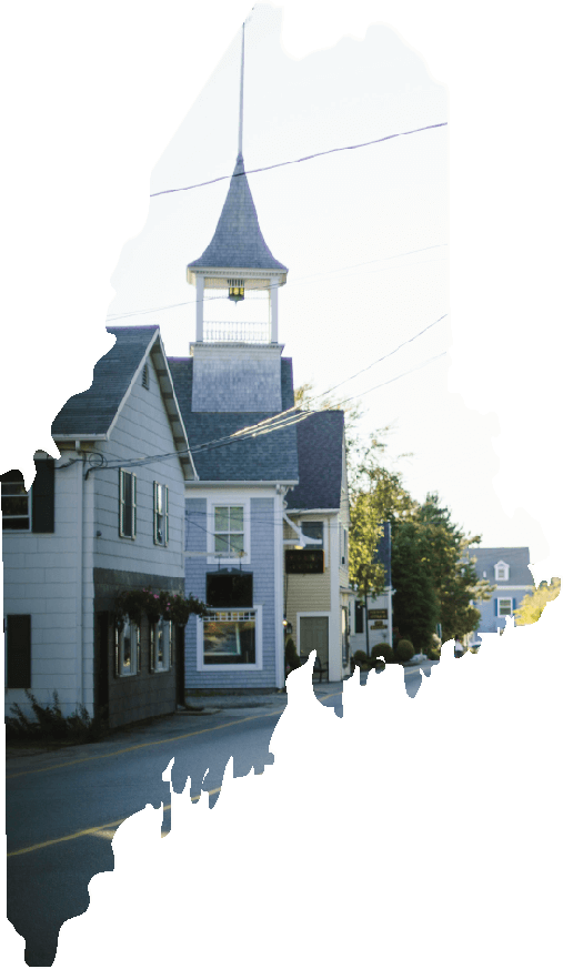 Universal Internet Access for Maine - The Future Just Got Brighter: A picture of a small Maine town with Broadband lines inside an outline of the state of Maine.