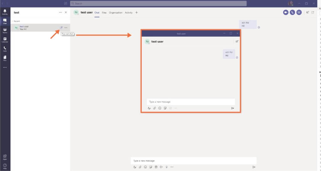 Microsoft Teams' pop out chat feature.