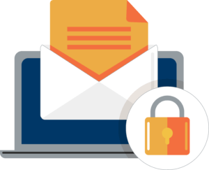 A graphic of email encryption: a laptop with an open letter in an envelop and a lock