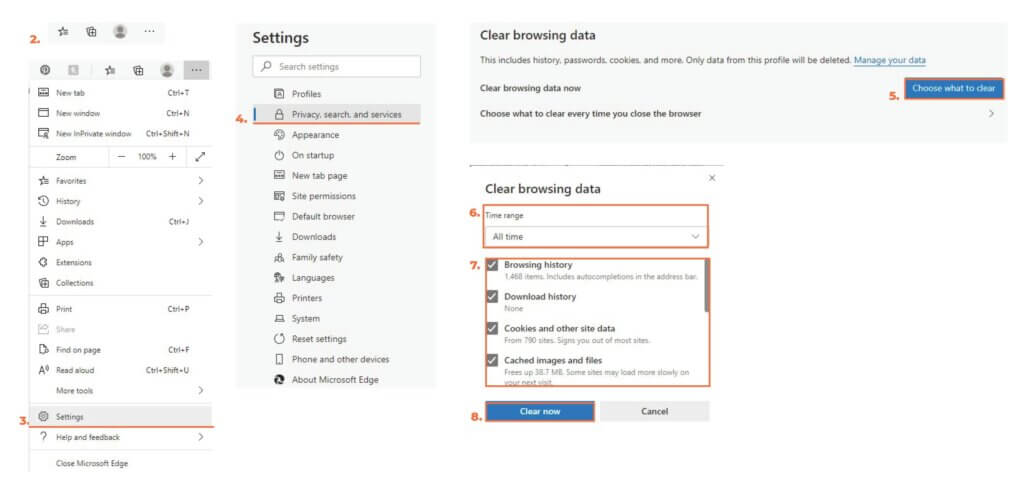 Directions for clearing your brwser cache and data on Microsoft Edge.