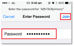 Step 4: Enter your WiFi password and then tap Join to finish
