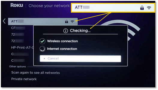 Step 3: Once you choose your network, it will check to see if the Wi-Fi and internet connection are working properly.